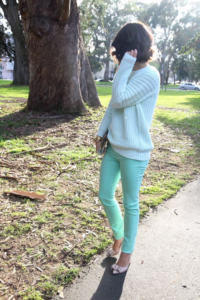 mint jeans, chunky sweater