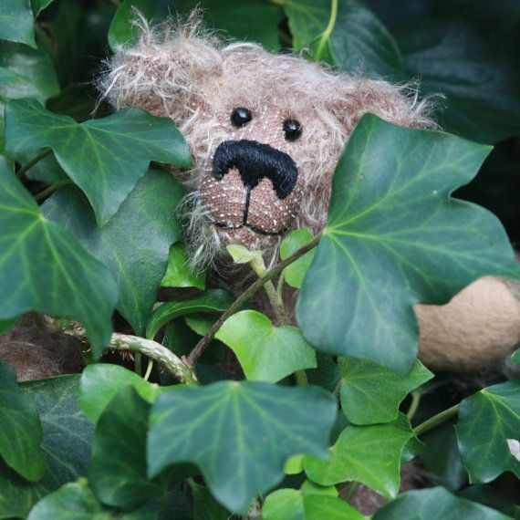 Schnitzel, a sweet and scruffy one of a kind artist bear in beautiful, wild, tipped, German mohair by Barbara-Ann Bears