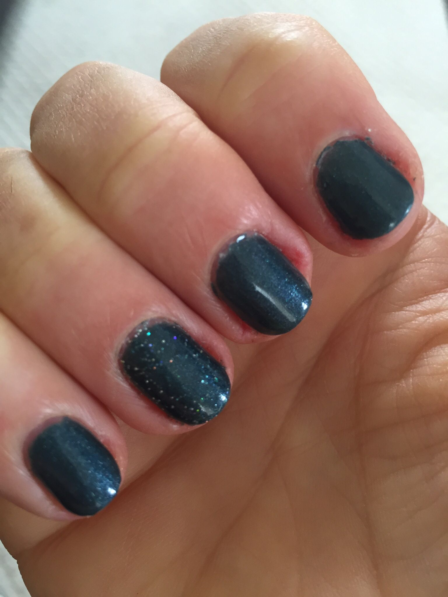 SensatioNail Ocean Sparkle with a touch of extra sparkle on the ring ...