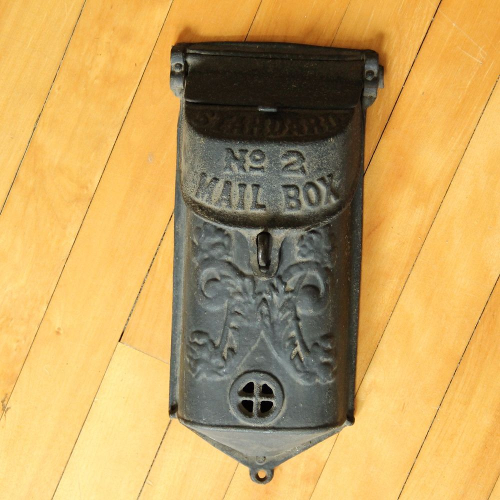 Cast Iron Vintage Antique Wall Mount Double Lid Letter Mail Box ...