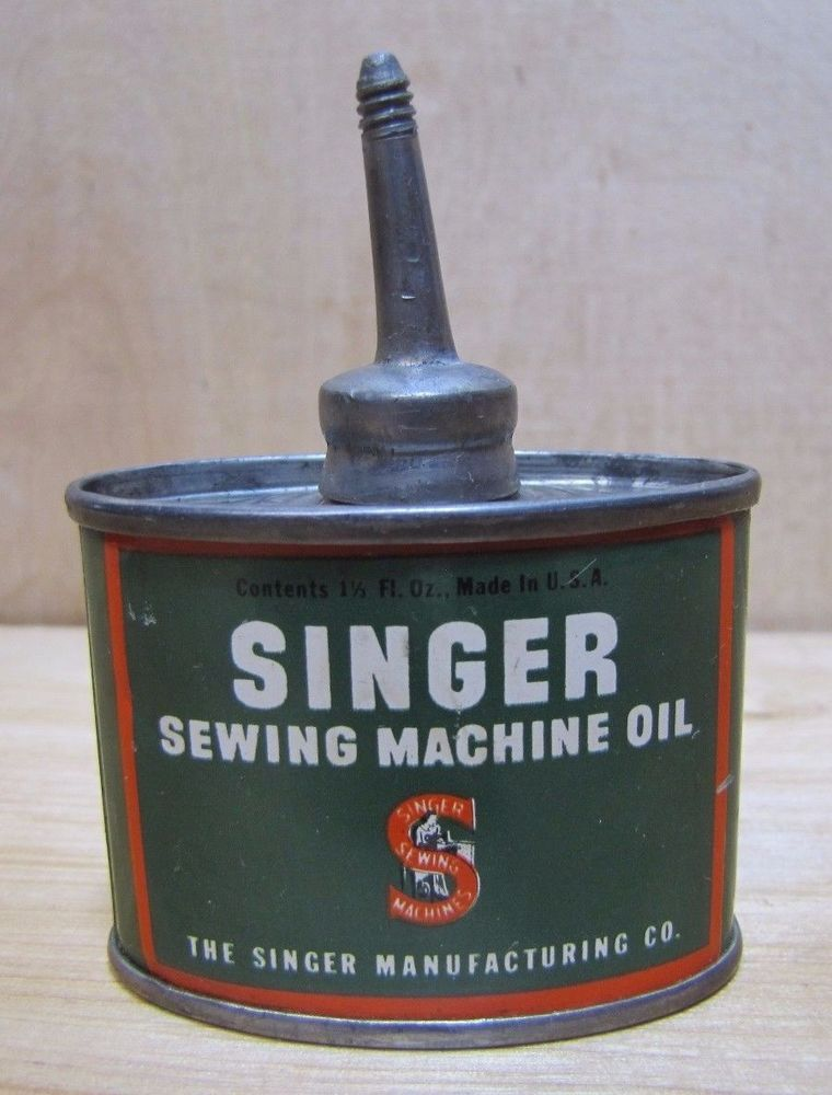 Antique SINGER SEWING MACHINE OIL Tin Litho Metal Can Bottle Small 40 Awesome Singer Sewing Machine Oil Tin