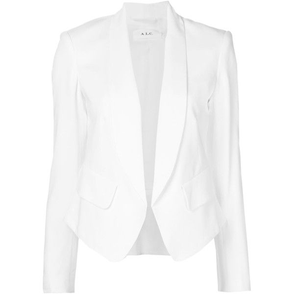 A.L.C. Aldred Single Breasted Blazer (€295) ❤ liked on Polyvore featuring outerwear, jackets, blazers, blazer, white, white blazer, single breasted jacket, white blazer jacket, white jacket and single breasted blazer