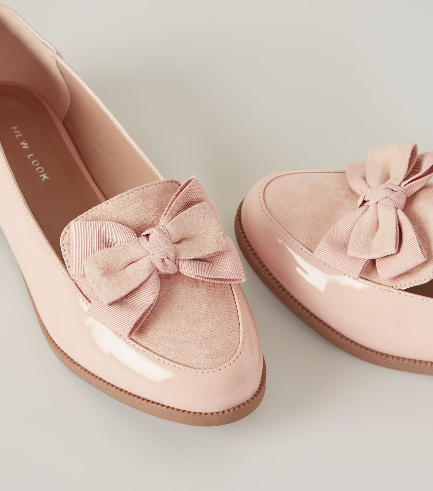Patent and Suedette Bow Front Loafers