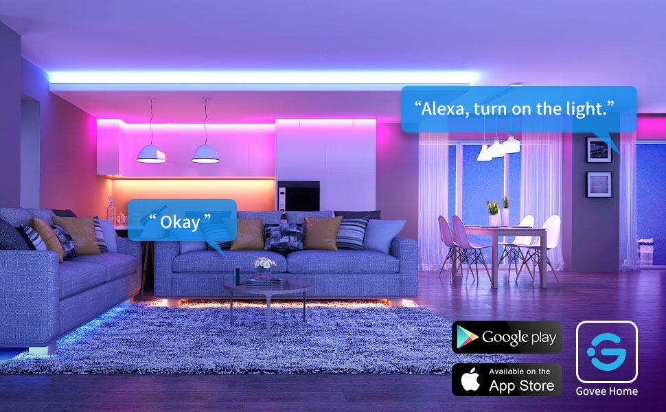 Amazon Com Govee Smart Wifi Led Strip Lights Works With Alexa Google Home Brighter 5050 Led 16 Millio Led Strip Lighting Rgb Led Strip Lights Strip Lighting