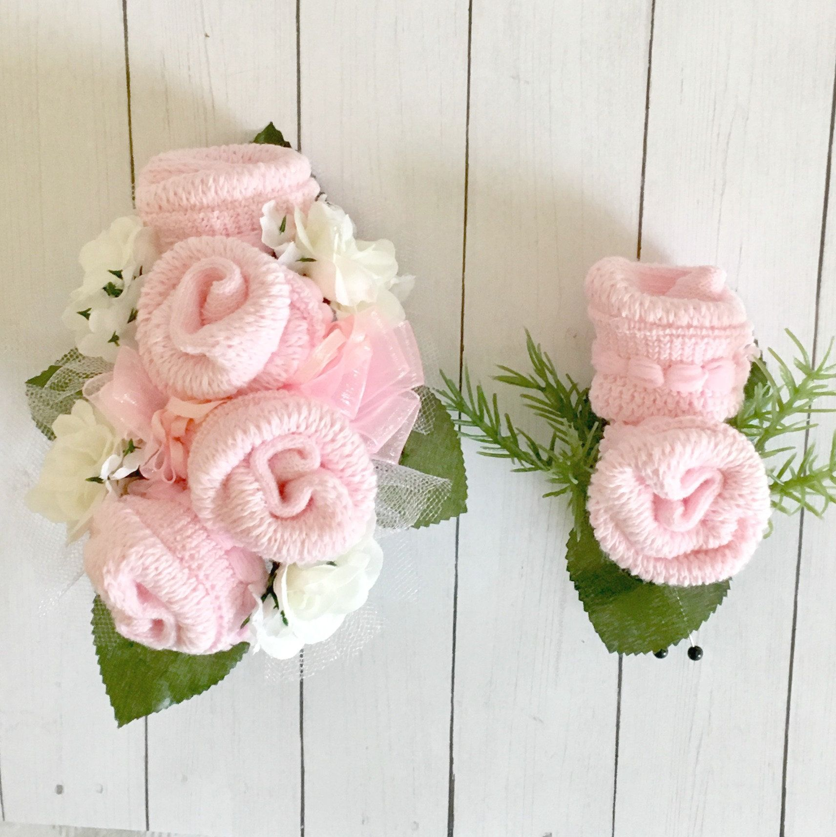 Baby Sock Corsage And Boutonniere Set Baby Shower Wrist Corsage