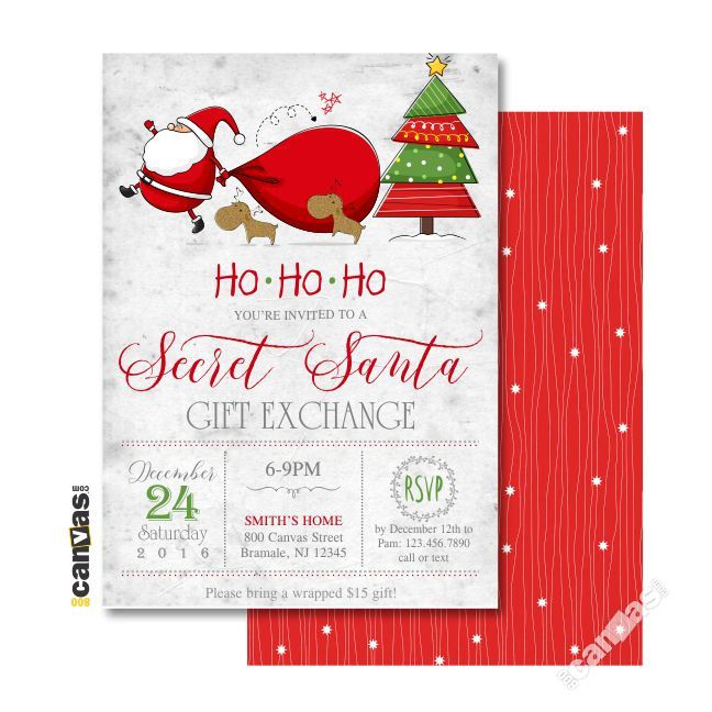 Secret Santa Invitation, Gift Exchange Party, Christmas Invitations, Christmas Party, Holiday Party, Santa Claus, Printable OR Printed 78 by 800Canvas on ...