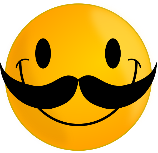 Funny Cute Smiley Pink Smile With Mustache Clip Art Caritas