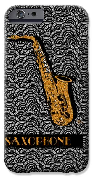 Saxophone  Swing iPhone Case by Cecely Bloom