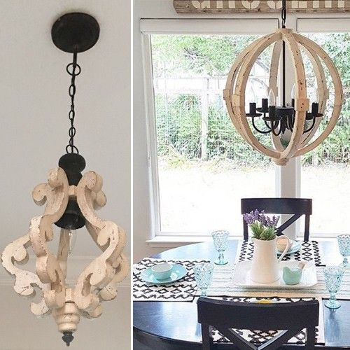 Our Distressed Wood Chandelier Is Affordable And Beautiful This White Will Light Up Your World See Antique Chandeliers At Décor Steals