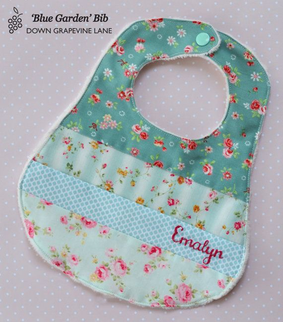 Free Patterns For Quilted Baby Bibs : Personalised patchwork baby bib Blue Garden - floral girl bib with hand embroidered name on ...