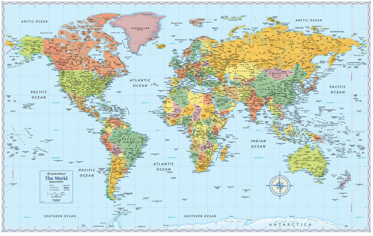 photograph relating to Free Printable World Map Poster named Signature Model International Wall Maps moon Coloration planet map