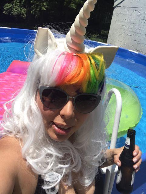 2215ef37d83d2 Unicorn Costume Wig Horn Ears Rainbow Tail Adult Halloween Fancy Dress |  eBay