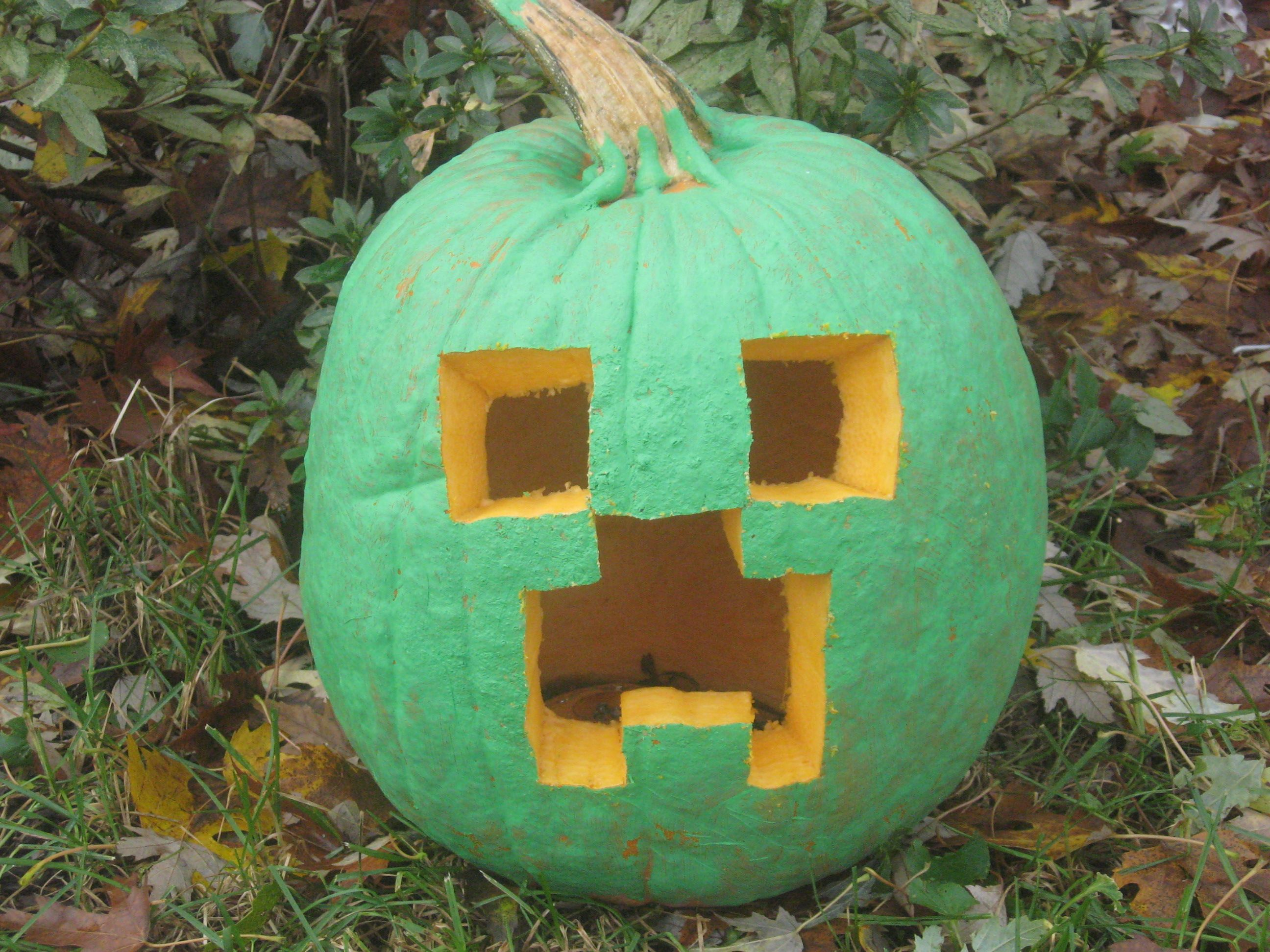 Minecraft Creeper Jack O Lantern Pumpkin Carving Holiday Halloween