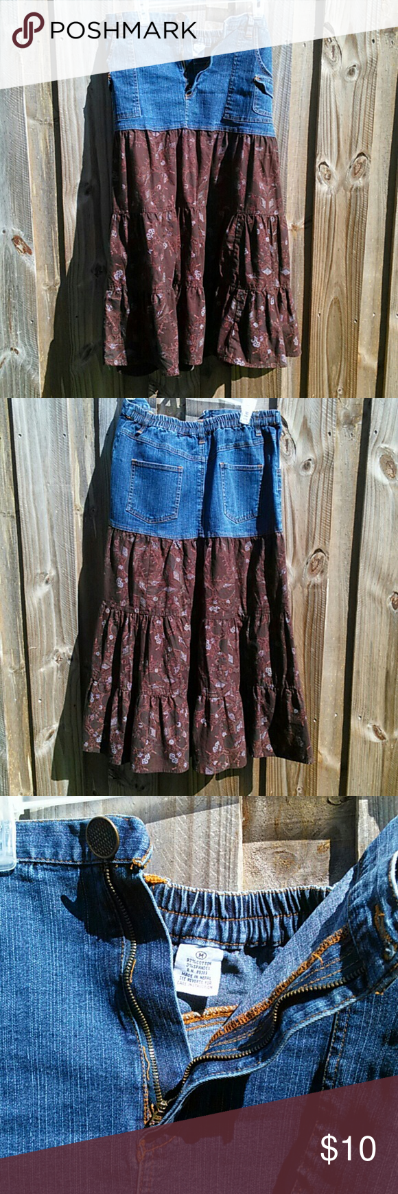 Pretty denim and flowery skirt Remember these? So pretty, denim and skirt part is flowery and 97% cotton. Top waist is spandex. Size 8-10 Skirts A-Line or Full