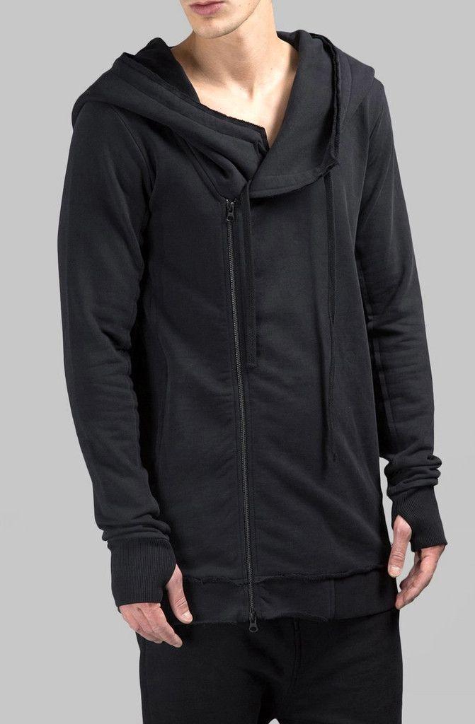 Goutique Mens Fashion Hoodie Sweatshirts Zip Up Casual Slim Fit Contrast Color Jacket Thin Coat