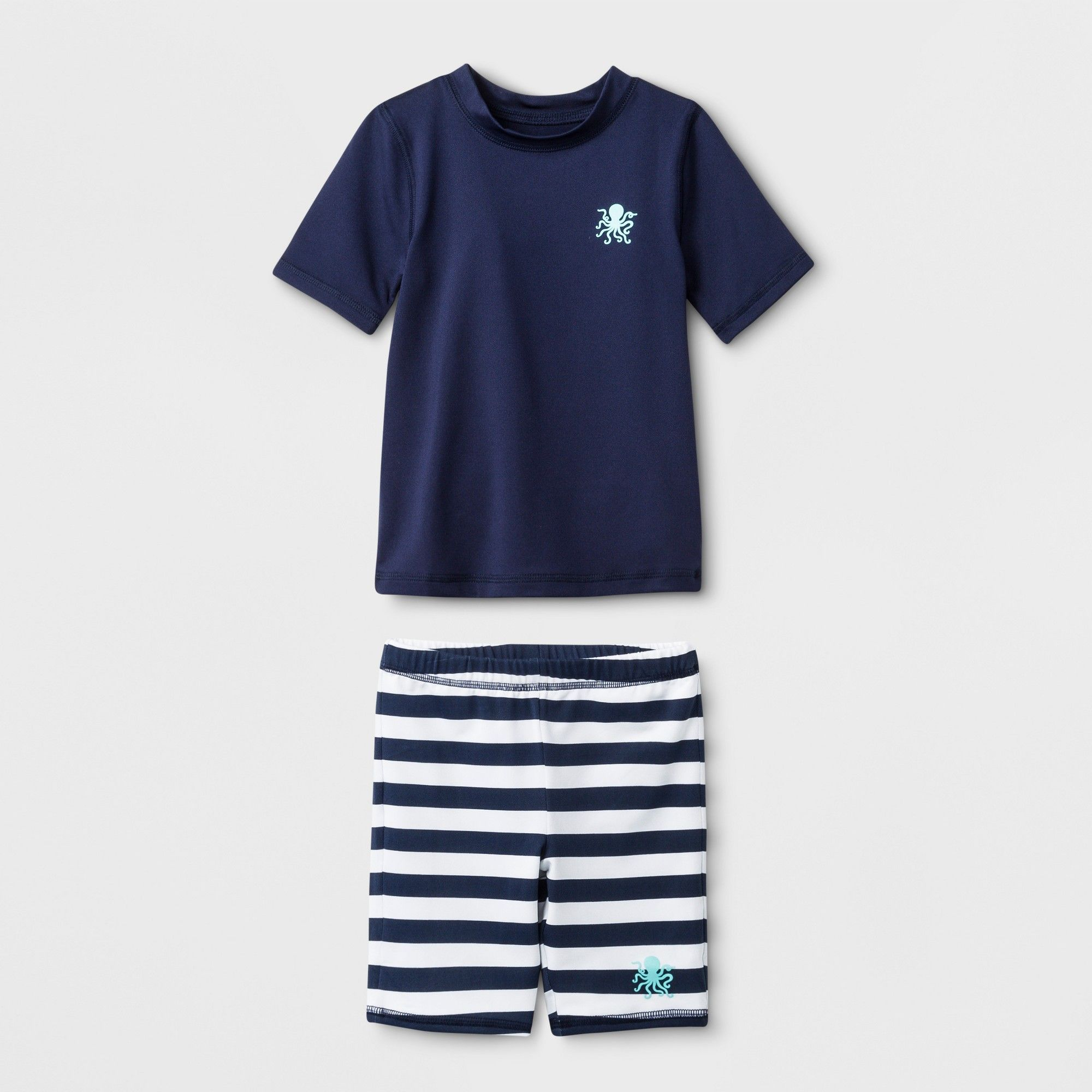7385cb463cd Toddler Boys  Short Sleeve Rash Guard with Shorts - Cat   Jack Navy ...