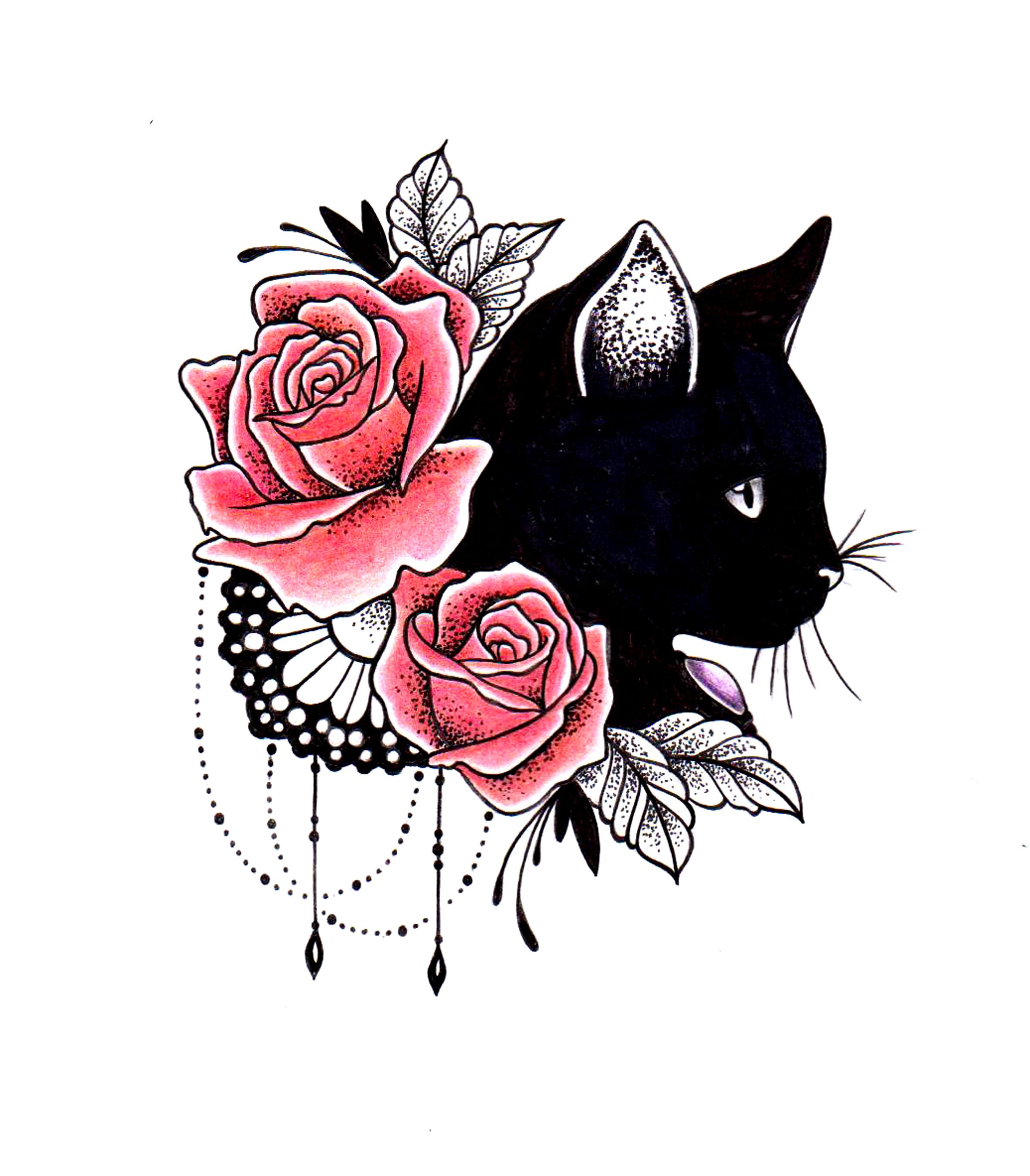 Modèle Pour Tatouage Chat Noire Roses Dentelle Bijoux