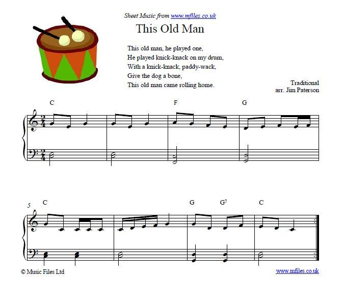 1000 Images About Sheet Music For Kids On Pinterest: This Old Man - Children's Song