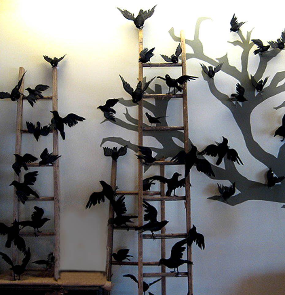 neat crowraven tree silhouette halloween decoration - Halloween Crow Decorations