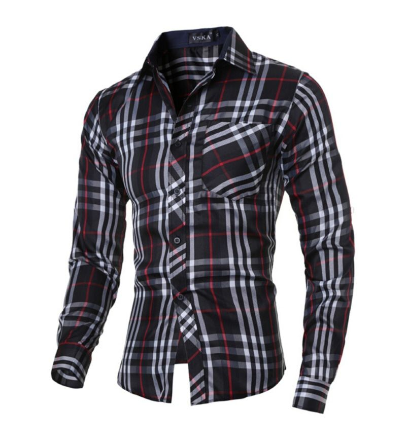 e2f1c41d New 2017 men's boutique autumn slim fit long sleeve Plaid Shirts Men ...