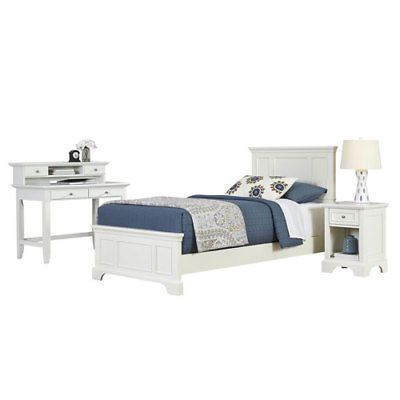 Naples White Twin Bed Night Stand and Student Desk with Hutch ...