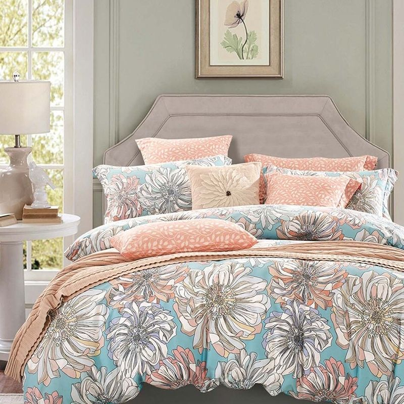 Peach Grey And Sky Blue Vintage Floral Bedding French Country Rustic Style 100 Cotton Damask Full Queen Size Country Bedding Sets Cute Bed Sets Bedding Sets