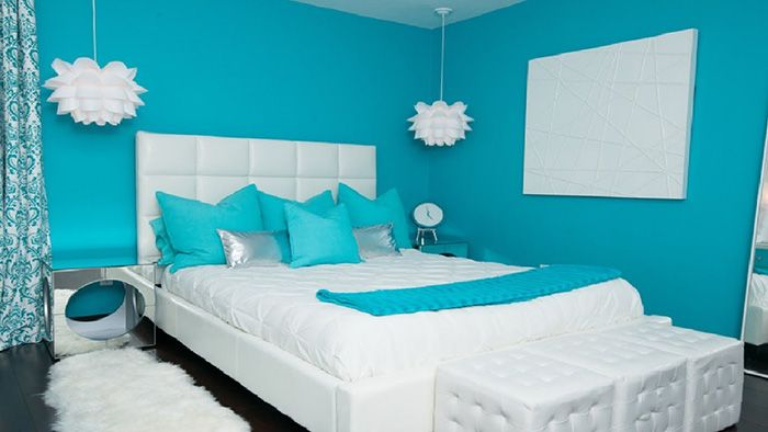 Color azul turquesa en paredes