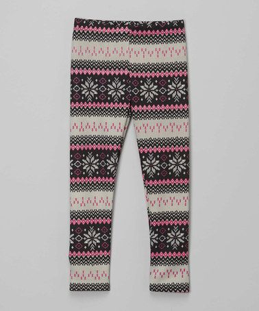 Another great find on #zulily! Pink & Beige Fair Isle Leggings ...