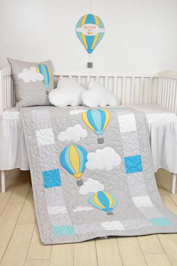 Baby quilt, unisex blanket, fly away, clouds hot air balloons, modern nursery decor, shower gift idea