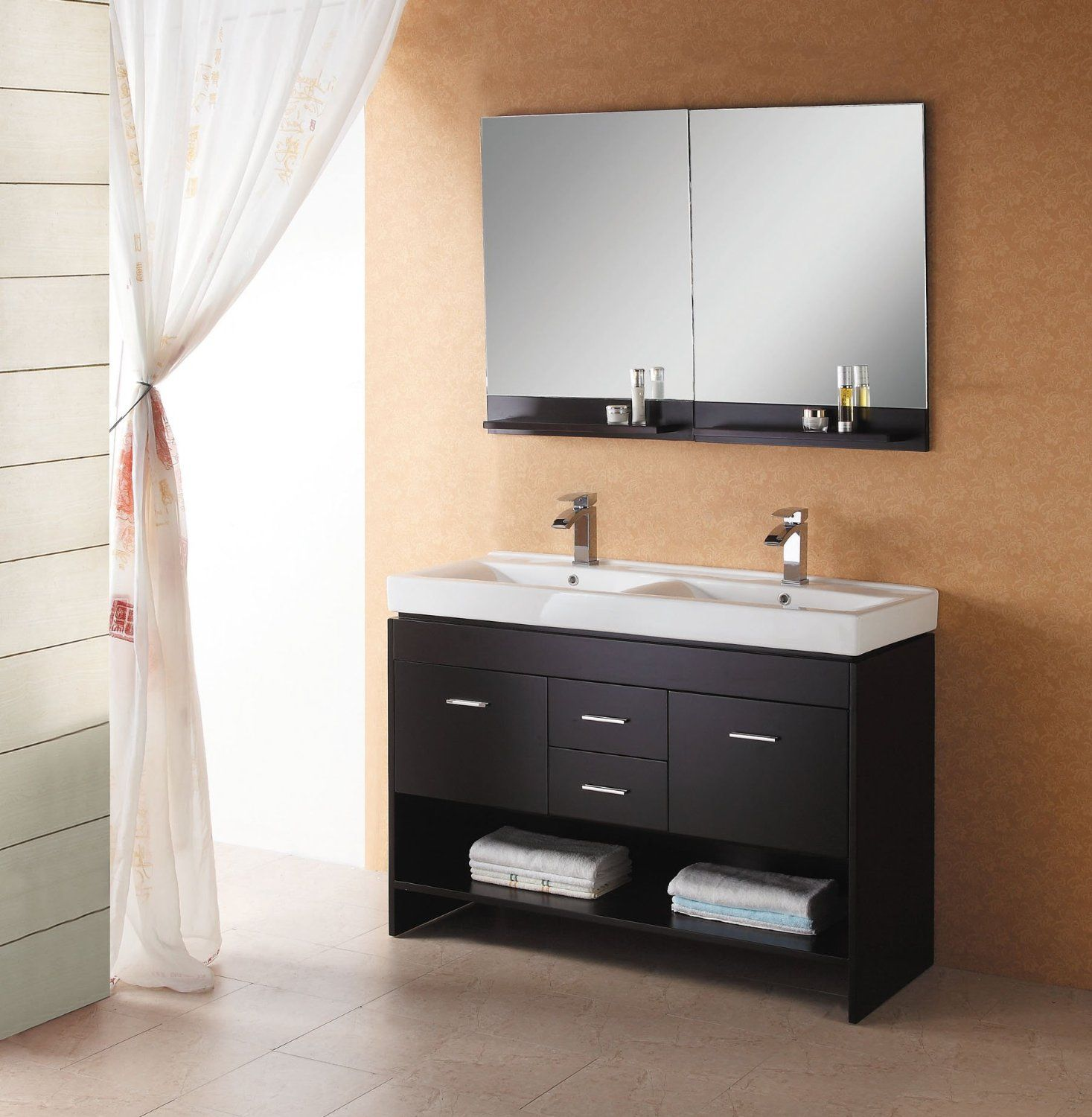 Bathroom Cool Black Custom Wooden Double Bathroom Sink Cabinets