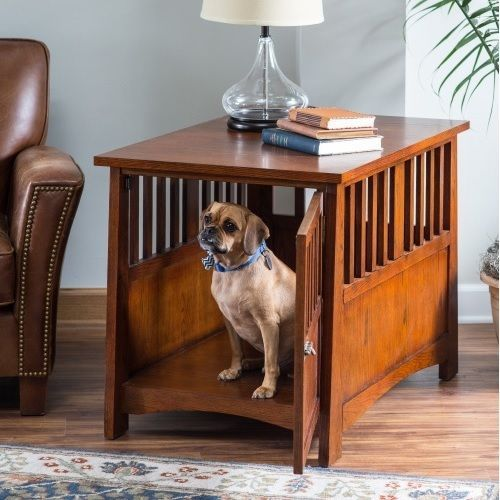 Dog Crate End Table Side Accent Wood Kennel Furniture Indoor Dark