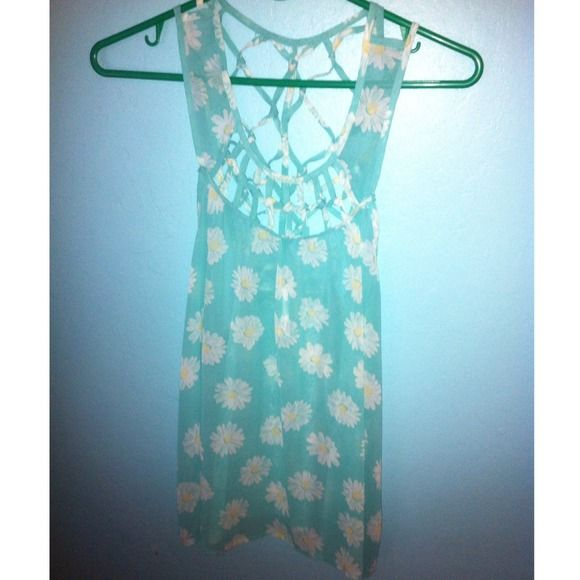 DANDELION BLOUSE AQUA BLUE WITH WHITE DANDELIONS. SHEER MATERIAL. FITS A LITTLE LONG. WORN ONLY A FEW TIMES Tops Blouses