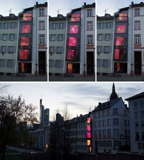 Interactive Urban Light Art Installation Operated by Smart Phones, A collaboration between Kollision, Martin Professional and light designers Katja Winklemann and Jochen Schröder, Photophore is an interactive media facade consisting of five illuminated panels mounted on the exterior of the building.