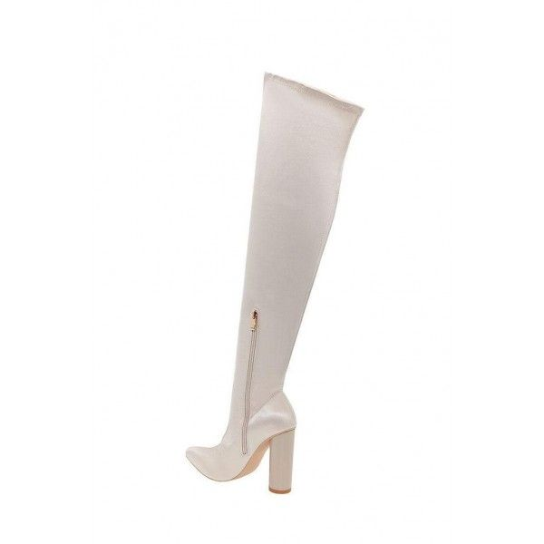 86121637fc4 Beige Flash Stripe Chunky Heel Boots Over-the-knee Boots in 2019 ...