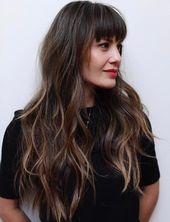 50 süße und mühelose lange Haarschnitte mit Pony  Hair