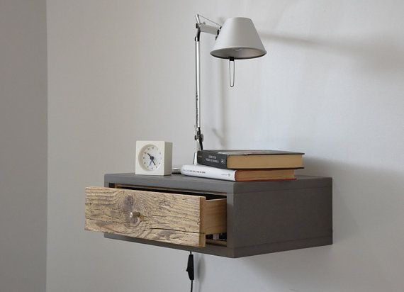 floating bedside table floating nightstand with drawer in old wood scandinavian design. Black Bedroom Furniture Sets. Home Design Ideas