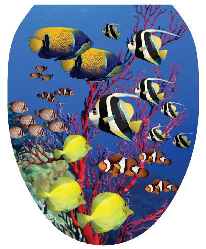 Toilet Tattoos TT 1016 O Coral Reef Decorative Applique For Toilet Lid,  Elongated