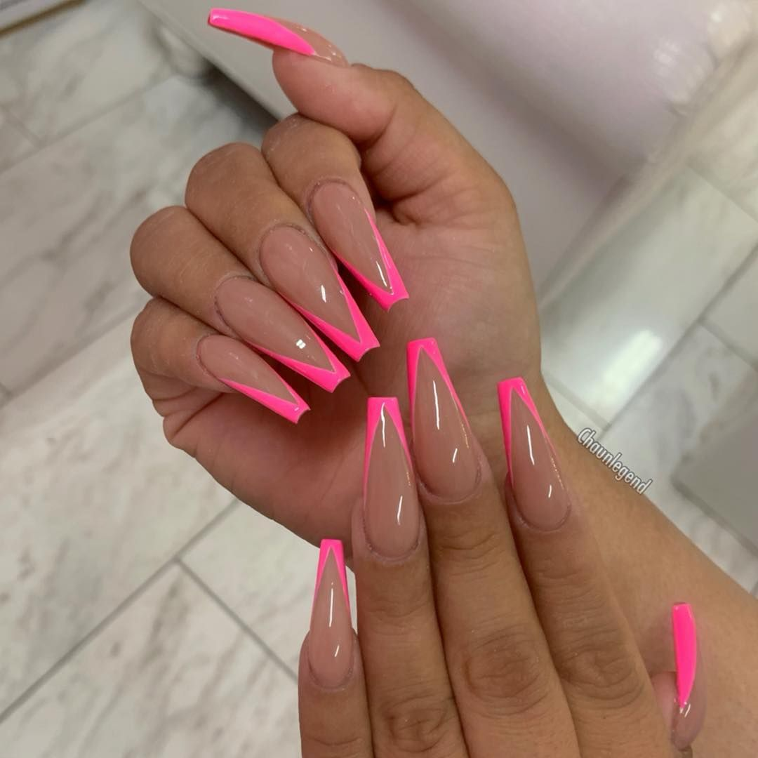 Cosmopolitan Uk S Edit Of The Best Pink Nails From Acrylics To Gels Baby To Neon Long To Short Pink Tip Nails Pink Acrylic Nails Glamour Nails