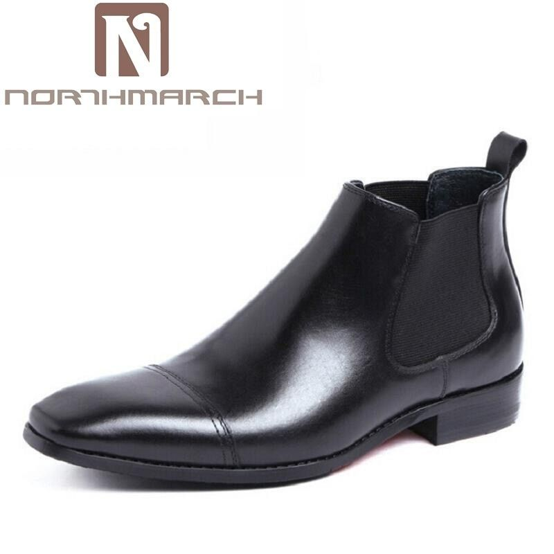 d5f07412605 NORTHMARCH Black Brown Winter Mens Ankle Boots Genuine Leather Comfort  Dress Shoes Boots Comfort Chelsea