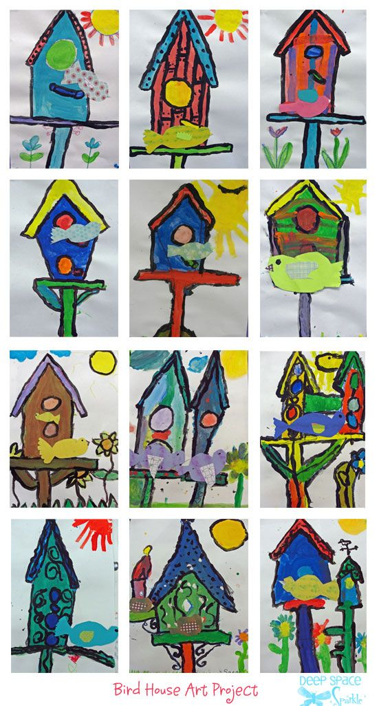 birdhouse and paper bird art lesson school ideas pinterest art rh pinterest com birdhouse artist birdhouse art project