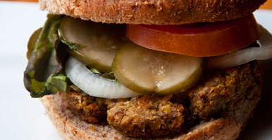Candle Cafe Brown Rice and Lentil Burgers | http://bit.ly/wWhrzW
