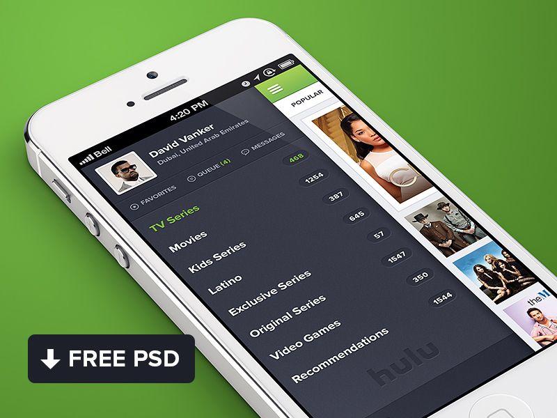 Hulu iPhone app design Free PSD Los originales y Free