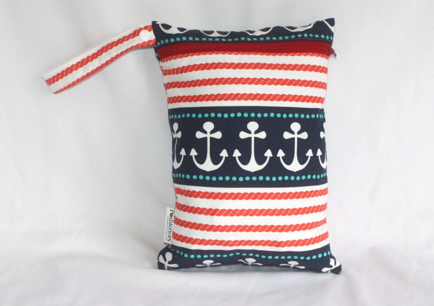 "Wet bag in nautical anchors print! Perfect travel size 9""x12"". Perfect bag with multiple uses by Poshteriors on Etsy"