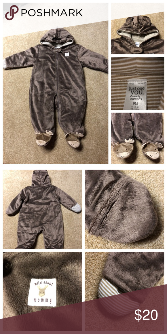3daca01a7 🆕Cozy Infant Snowsuit, Moose, Fleece, Size 9MO Just One You by Carters