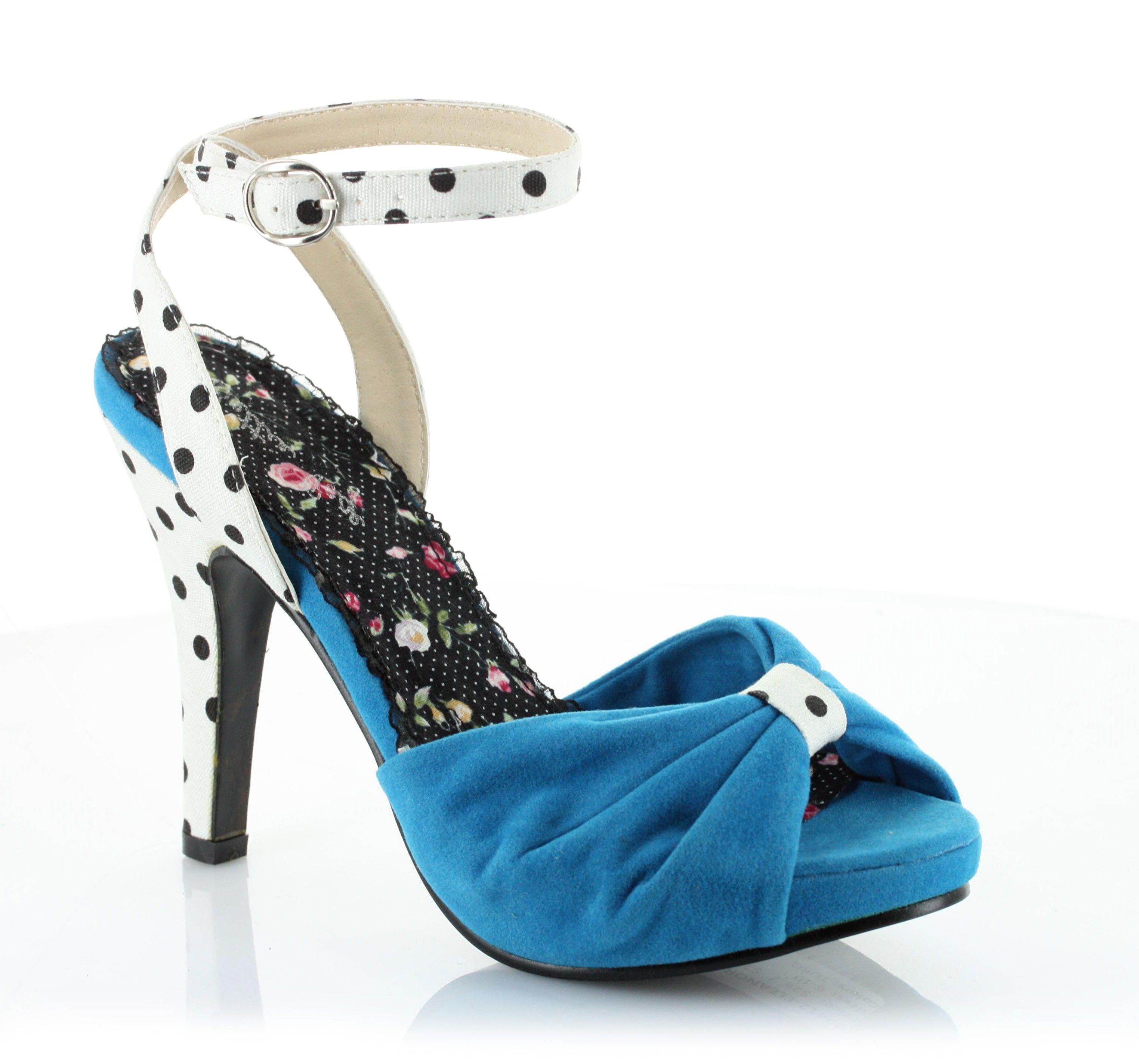 Eleanor+is+only+for+the+bold!+These+stand-out+peep+toe+pumps+sport+a+pop+of+color+and+a+bold+polka-dot+accent+heel.++These+cushioned+4+inch+heels+were+made+for+the+dance+floor+and+complement+your+favorite+pinup+ensembles.+Made+by+Bettie+Page+Shoes. $59.00