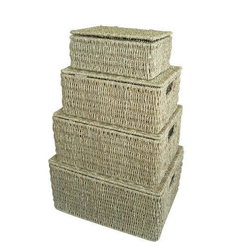 Decorative Lidded Storage Boxes Seagrass Lidded Storage Baskets Hampers Boxes Home Gift Kitchen