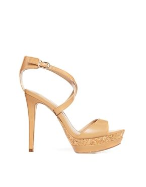 Mango Platform Cross Strap Heeled Sandals