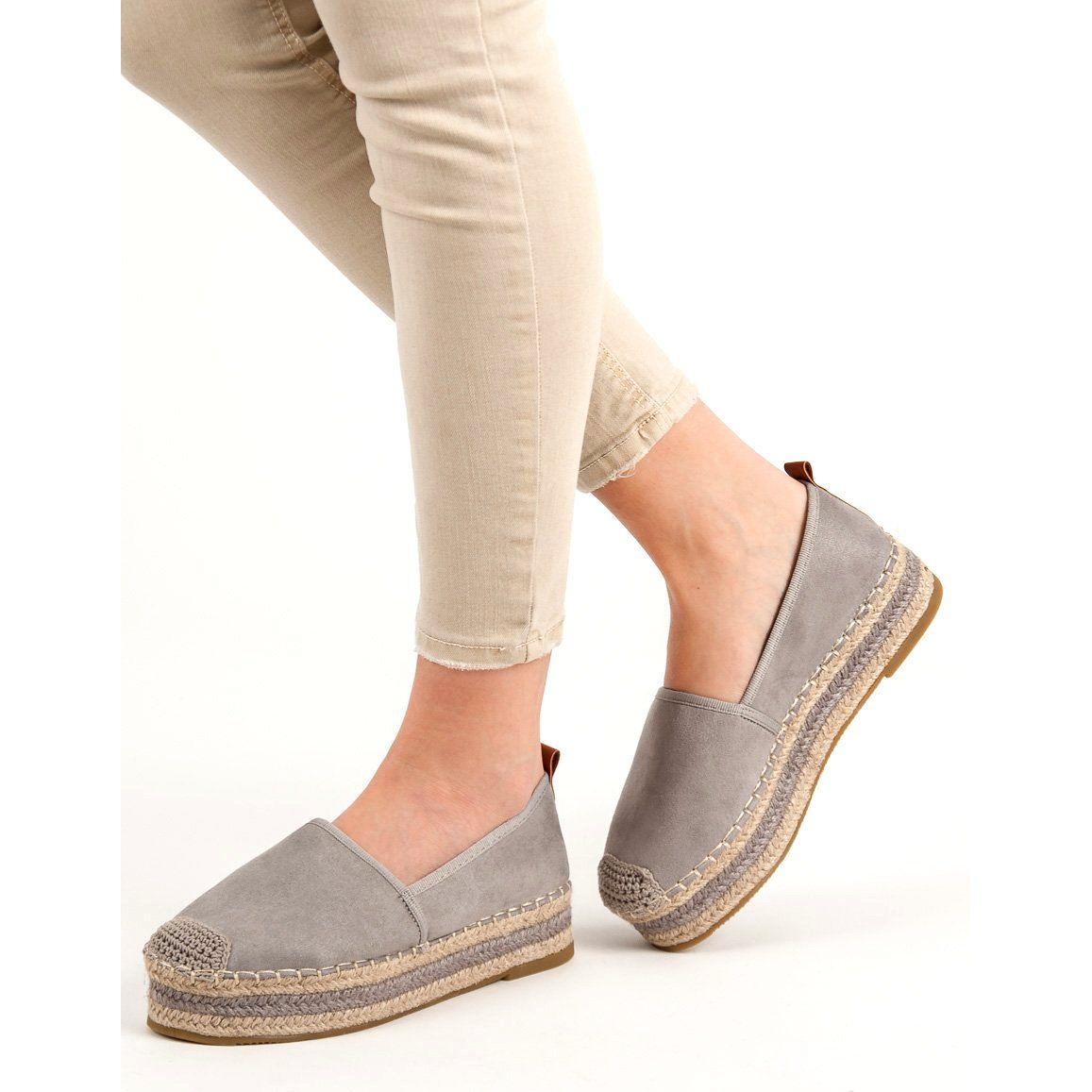 Coura Zamszowe Espadryle Na Platformie Szare Espadrilles Flat Espadrille Shoes