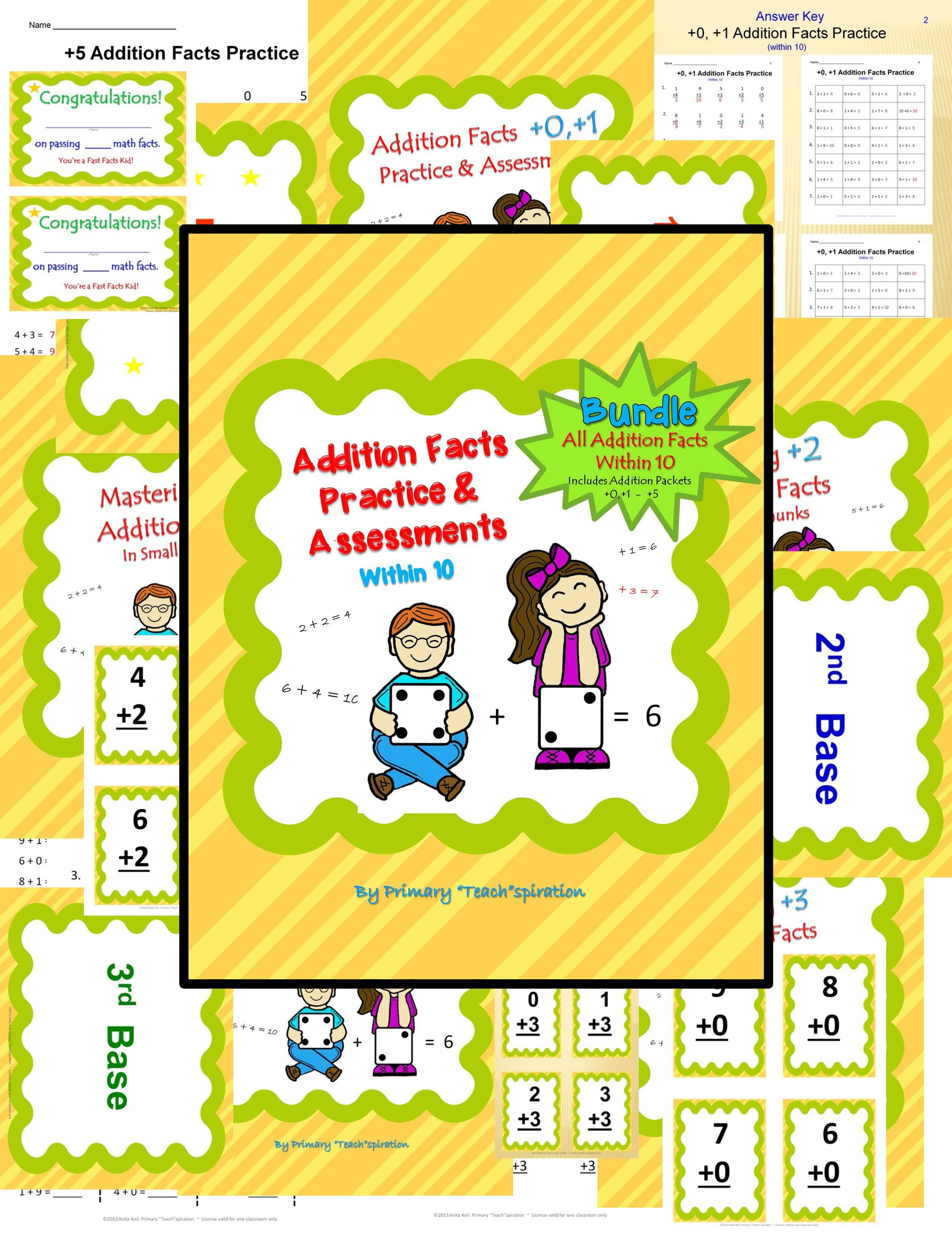 Addition Facts Practice Amp Assessment Bundle