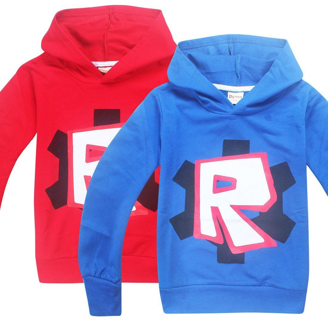 5, Pink Boys Girls Kids Roblox Cotton Hooded Long Sleeve Shirts